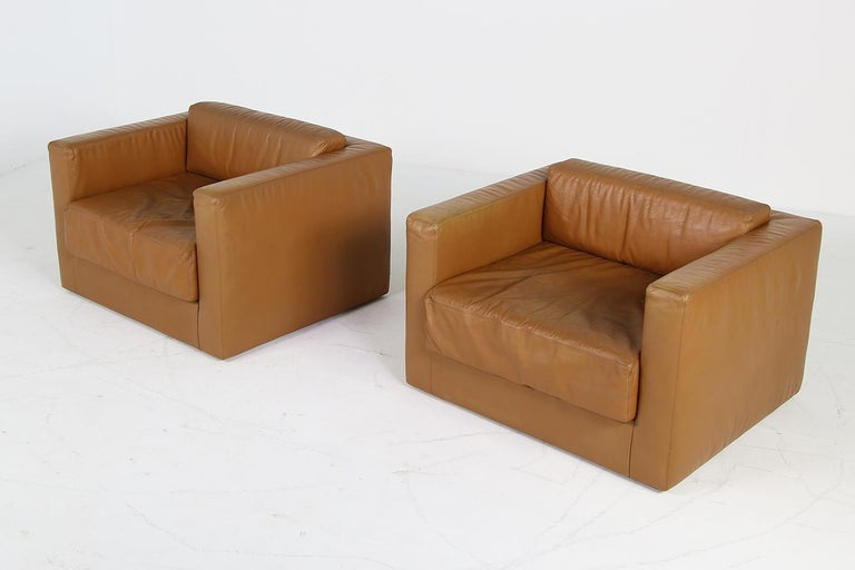 Unique & Large 1960s Landscape Sofa & Chairs Brown Leather Made to Order 1969 For Sale 13