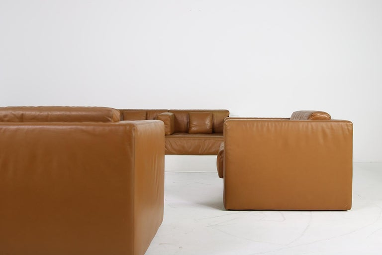 Mid-Century Modern Unique & Large 1960s Landscape Sofa & Chairs Brown Leather Made to Order 1969 For Sale