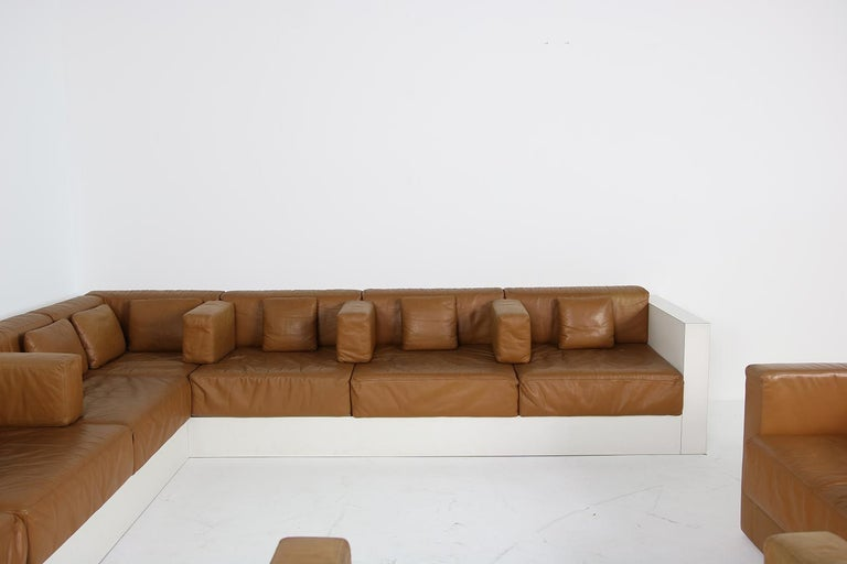 German Unique & Large 1960s Landscape Sofa & Chairs Brown Leather Made to Order 1969 For Sale