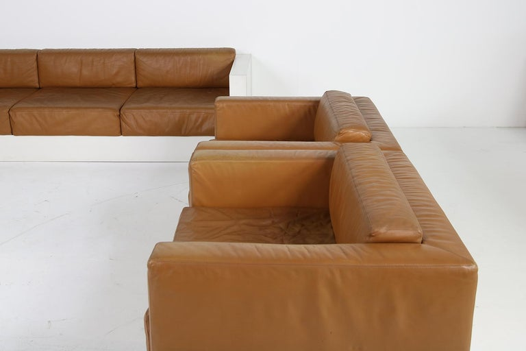 Unique & Large 1960s Landscape Sofa & Chairs Brown Leather Made to Order 1969 In Good Condition For Sale In Hamminkeln, DE