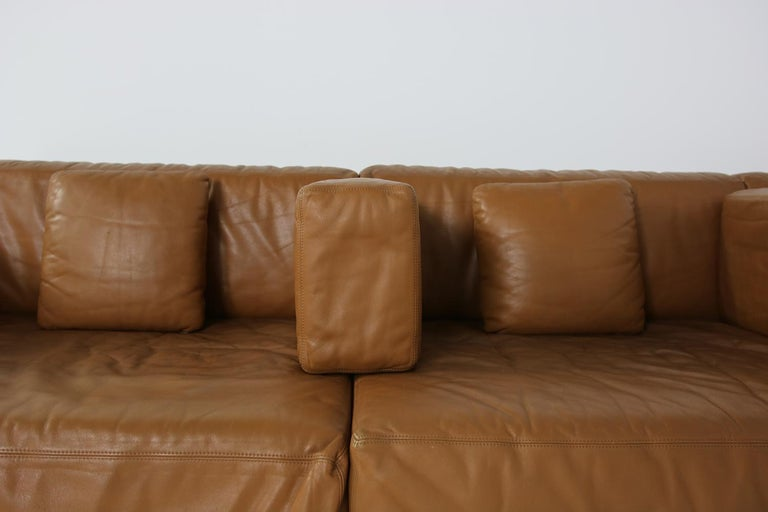 Mid-20th Century Unique & Large 1960s Landscape Sofa & Chairs Brown Leather Made to Order 1969 For Sale
