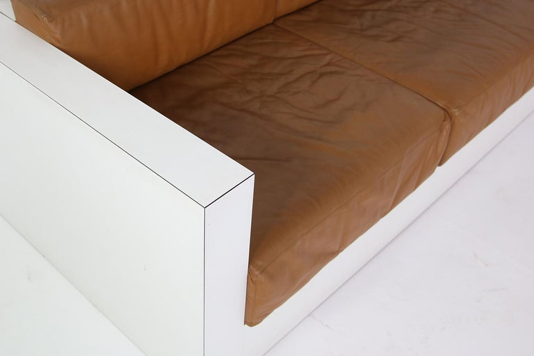 Formica Unique & Large 1960s Landscape Sofa & Chairs Brown Leather Made to Order 1969 For Sale