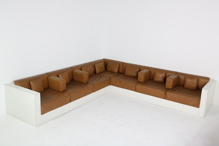 Unique & Large 1960s Landscape Sofa & Chairs Brown Leather Made to Order 1969 For Sale 1