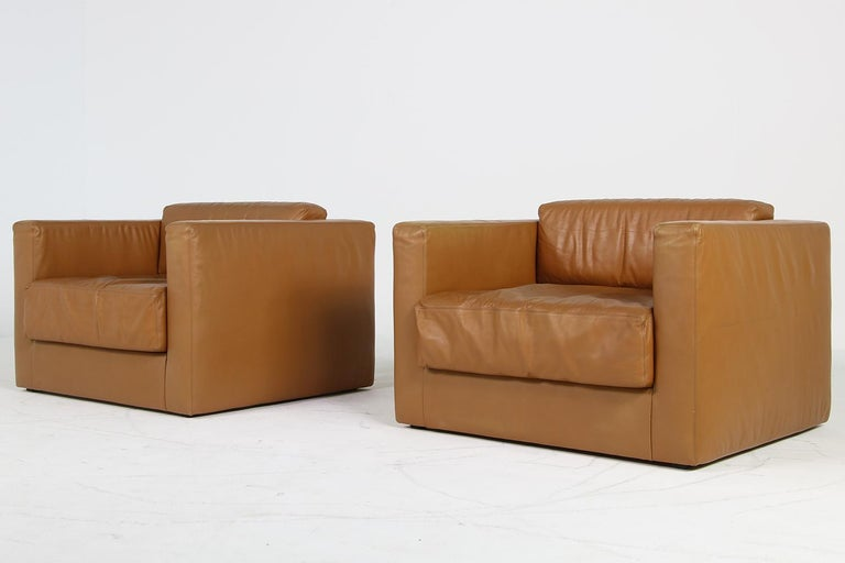 Unique & Large 1960s Landscape Sofa & Chairs Brown Leather Made to Order 1969 For Sale 2