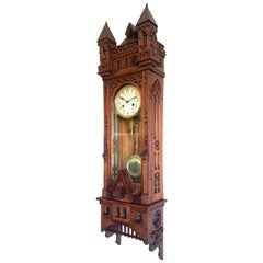 Unique, Large and All Handcrafted Early 20th Century Gothic Revival Wall Clock