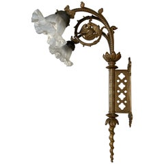 Unique Large and Great Quality Gothic Revival Solid Bronze Two-Light Wall Sconce