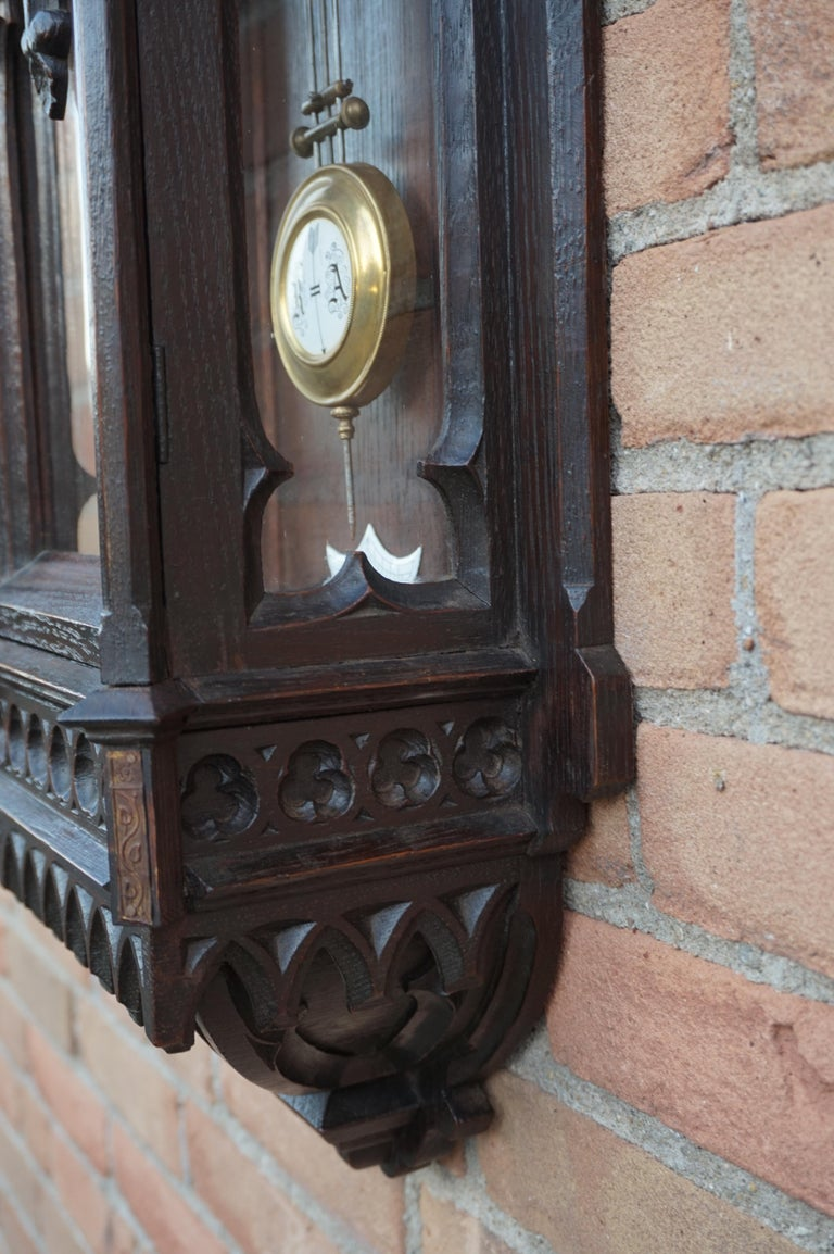 Unique, Large and Hand Carved Early 20th Century Gothic Revival Wall Clock For Sale 4