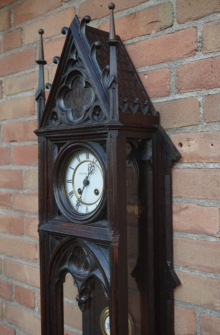 Unique, Large and Hand Carved Early 20th Century Gothic Revival Wall Clock For Sale 5