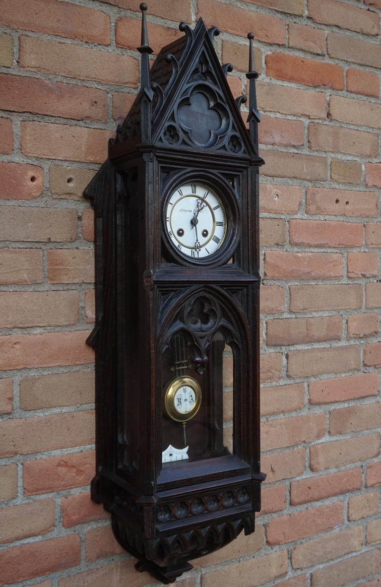 Unique, Large and Hand Carved Early 20th Century Gothic Revival Wall Clock For Sale 8