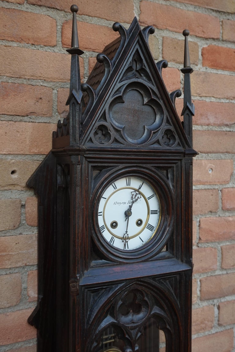 Unique, Large and Hand Carved Early 20th Century Gothic Revival Wall Clock For Sale 10