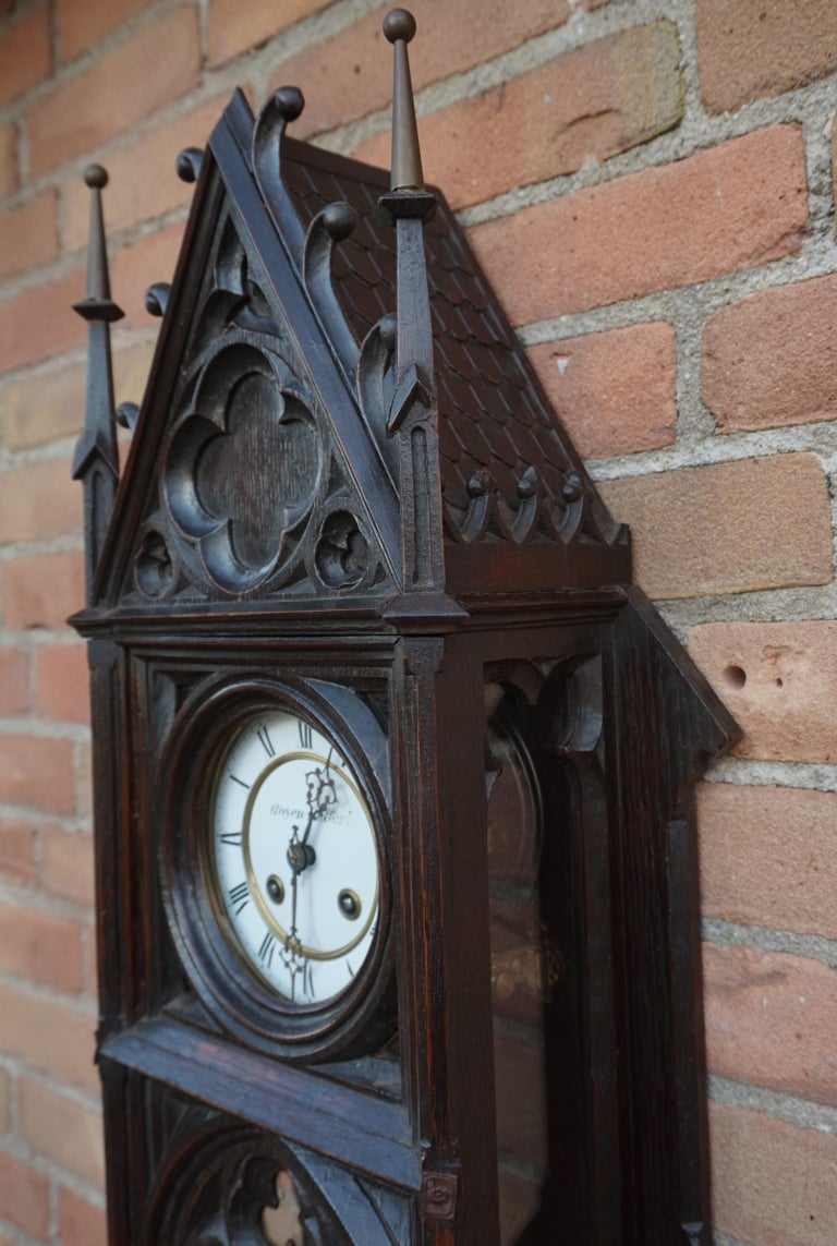 Unique, Large and Hand Carved Early 20th Century Gothic Revival Wall Clock For Sale 12