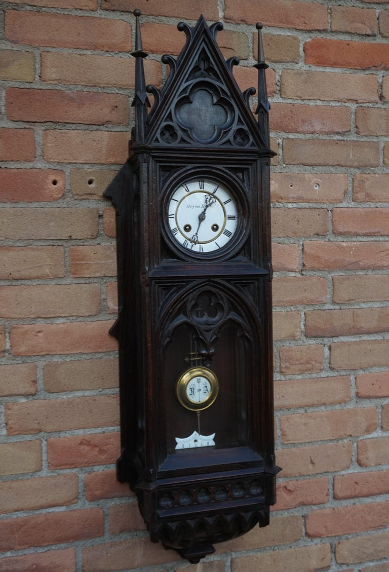 Unique, Large and Hand Carved Early 20th Century Gothic Revival Wall Clock For Sale 13