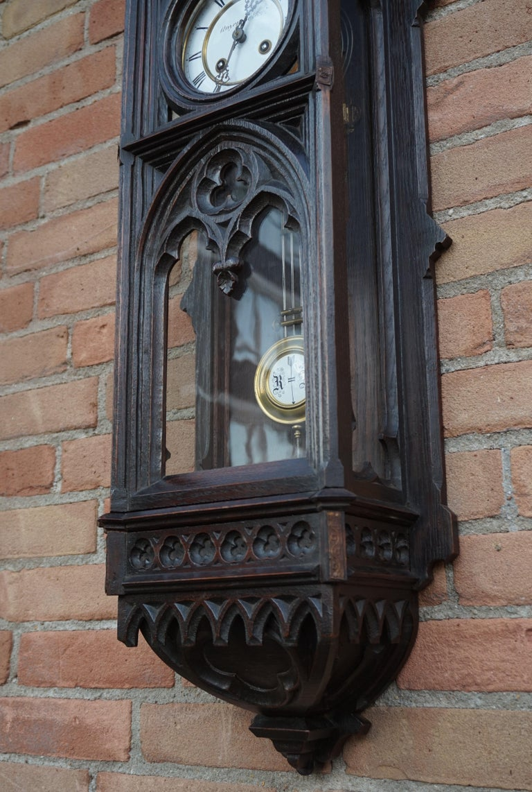 French Unique, Large and Hand Carved Early 20th Century Gothic Revival Wall Clock For Sale