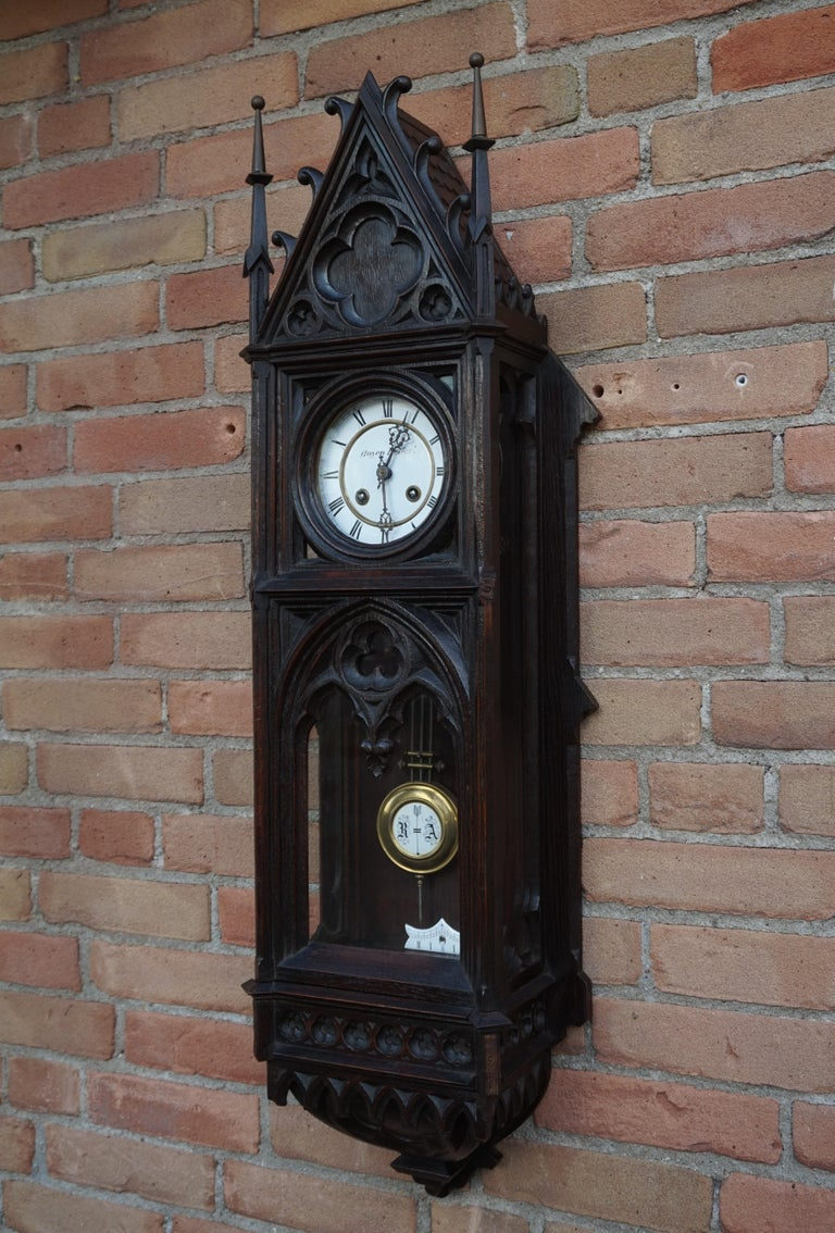 Hand-Carved Unique, Large and Hand Carved Early 20th Century Gothic Revival Wall Clock For Sale