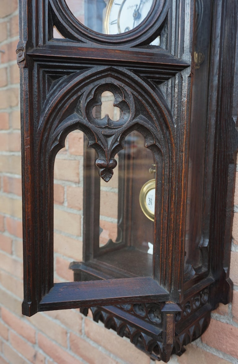 Brass Unique, Large and Hand Carved Early 20th Century Gothic Revival Wall Clock For Sale