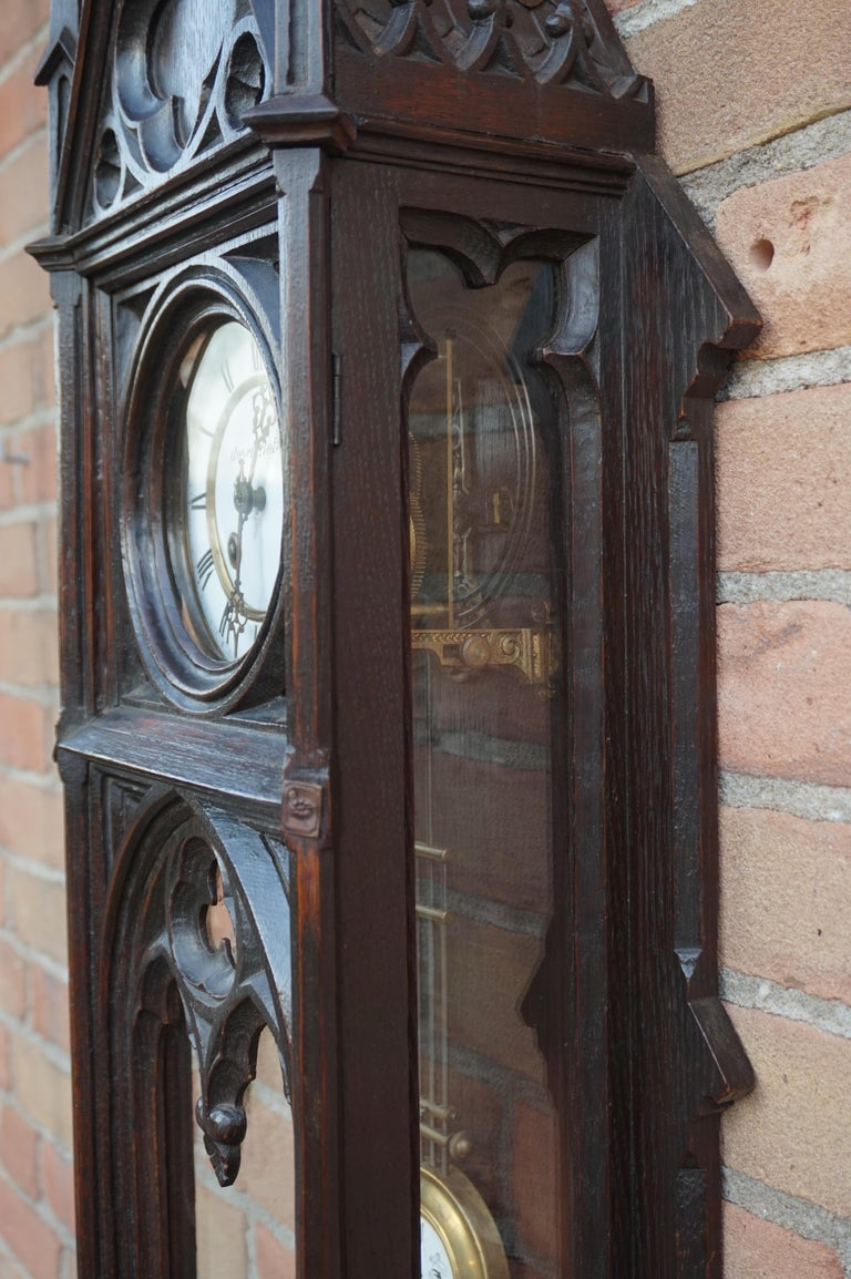 Unique, Large and Hand Carved Early 20th Century Gothic Revival Wall Clock For Sale 1