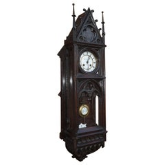 Unique, Large and Hand Carved Early 20th Century Gothic Revival Wall Clock