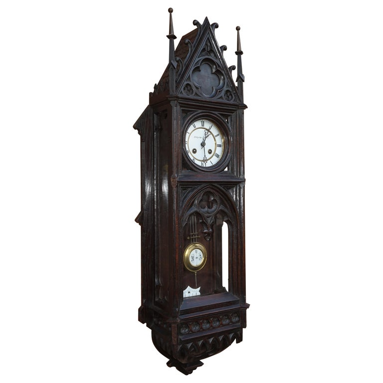 Unique, Large and Hand Carved Early 20th Century Gothic Revival Wall Clock For Sale