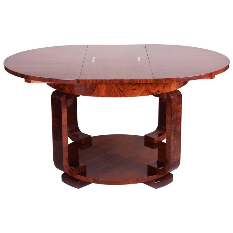 Unique Dinner Tables: Unique Large Art Deco Extendable Dining Table For Sale At