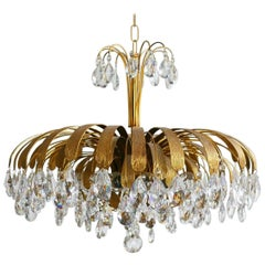 Unique Large Brass and Crystal Chandelier, Palwa, Germany, 1960s
