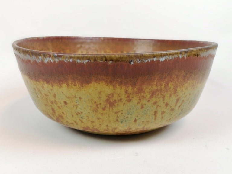 Mid-20th Century Unique Large Ceramic Bowl Carl-Harry Stålhane Rörstrand, Sweden For Sale