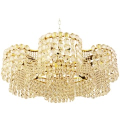Unique Large Cut Crystal Chandelier by J.L Lobmeyr