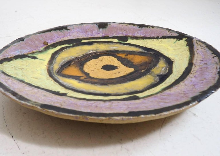 Mid-Century Modern Unique Large Danish Ceramic and Enamel Stoneware by Astrid Grundvig For Sale