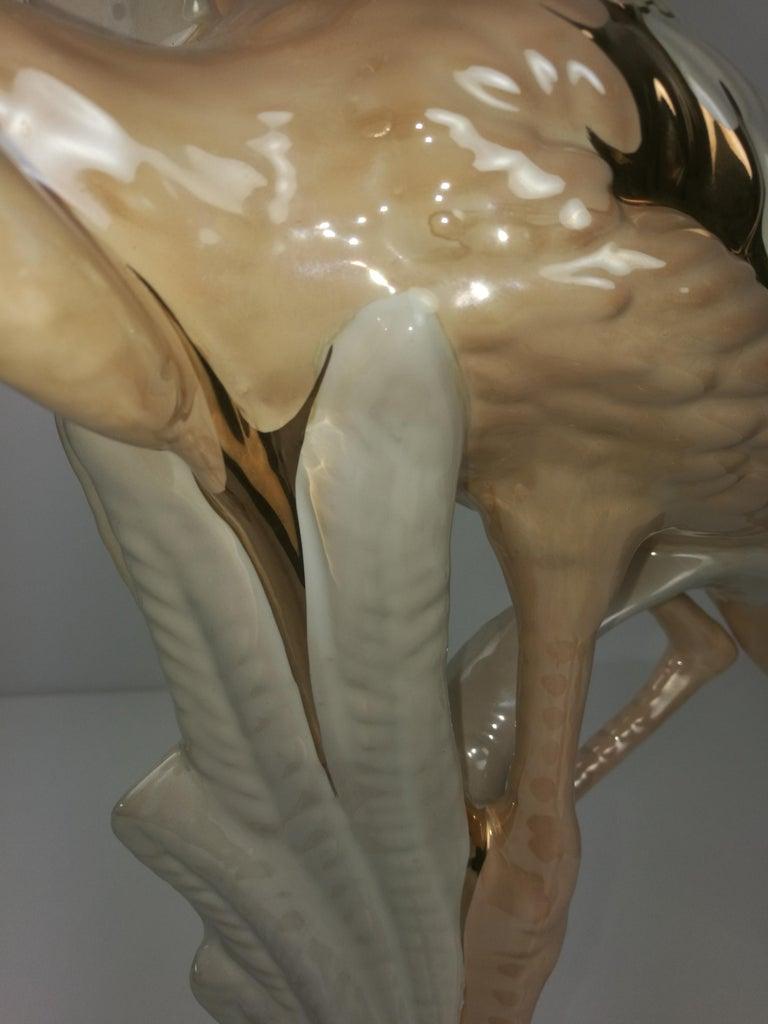 Unique Large Flamingo Gold-Plated Porcelain Sculpture, Italy, 1960s For Sale 4