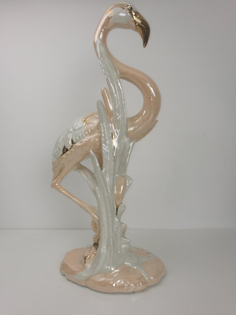 Unique Large Flamingo Gold-Plated Porcelain Sculpture, Italy, 1960s In Excellent Condition For Sale In Rijssen, NL