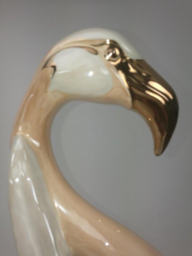 Unique Large Flamingo Gold-Plated Porcelain Sculpture, Italy, 1960s For Sale 2