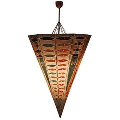 Unique Large Handmade Batik Umbrella Lamp, 1960s