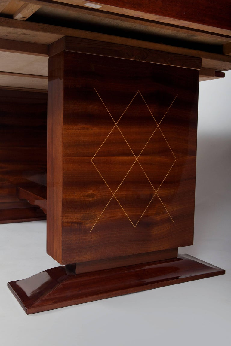 French Unique Large Mahogany Art Deco Extendable Dining Table For Sale