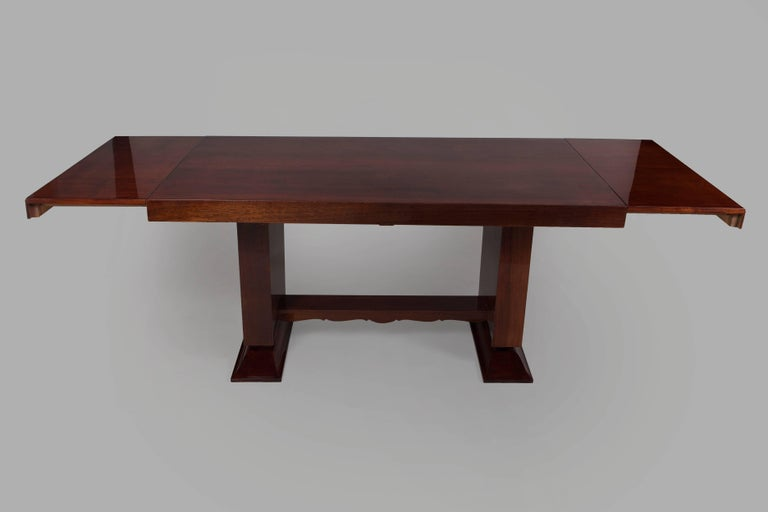 Unique Large Mahogany Art Deco Extendable Dining Table In Excellent Condition For Sale In Horomerice, CZ