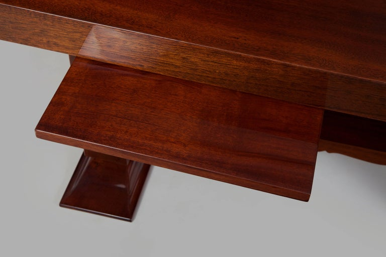 Unique Large Mahogany Art Deco Extendable Dining Table For Sale 1