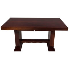 Unique Large Mahogany Art Deco Extendable Dining Table