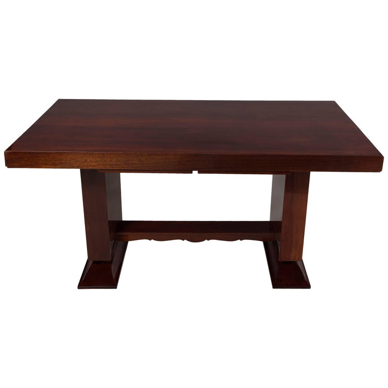 Unique Breakfast Tables: Unique Large Mahogany Art Deco Extendable Dining Table For