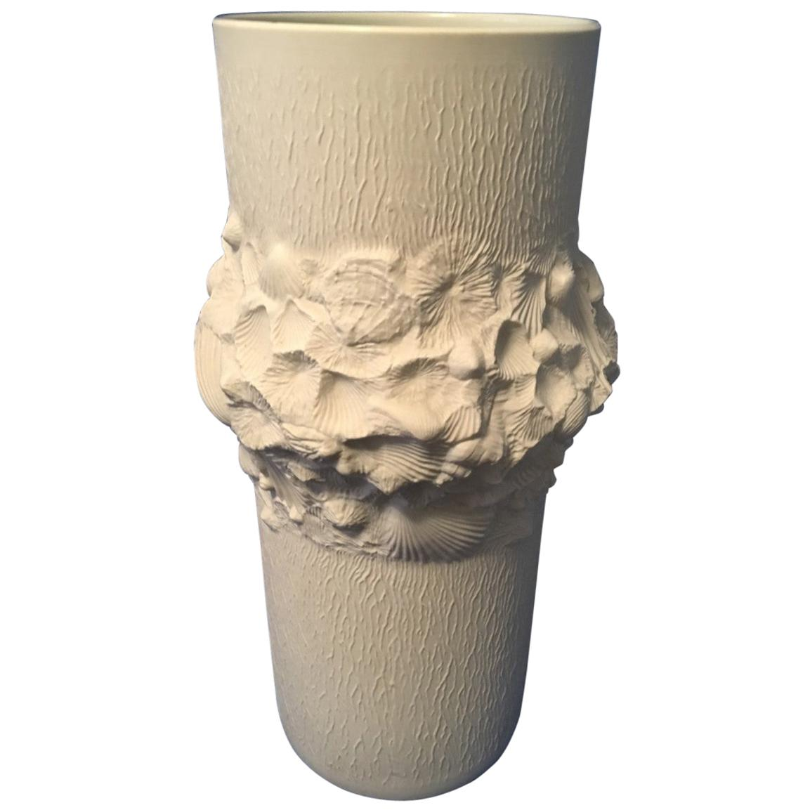 Unique Large White Matt Fossil Rock Umbrella Stand by Kaiser of Germany