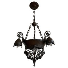 Unique Late 19th Century Wrought Iron Arts & Crafts Pendant / 4-Light Fixture