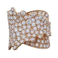 Unique Leaf Diamond Gold Band Ring