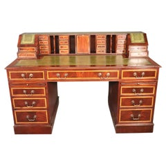 Unique Leather Top English Made Four Piece Executive with Superstructure