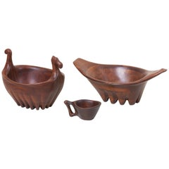 Unique Lee Swennes Studio Set of Two Large Bowl and Cup in Walnut, US, 1960s