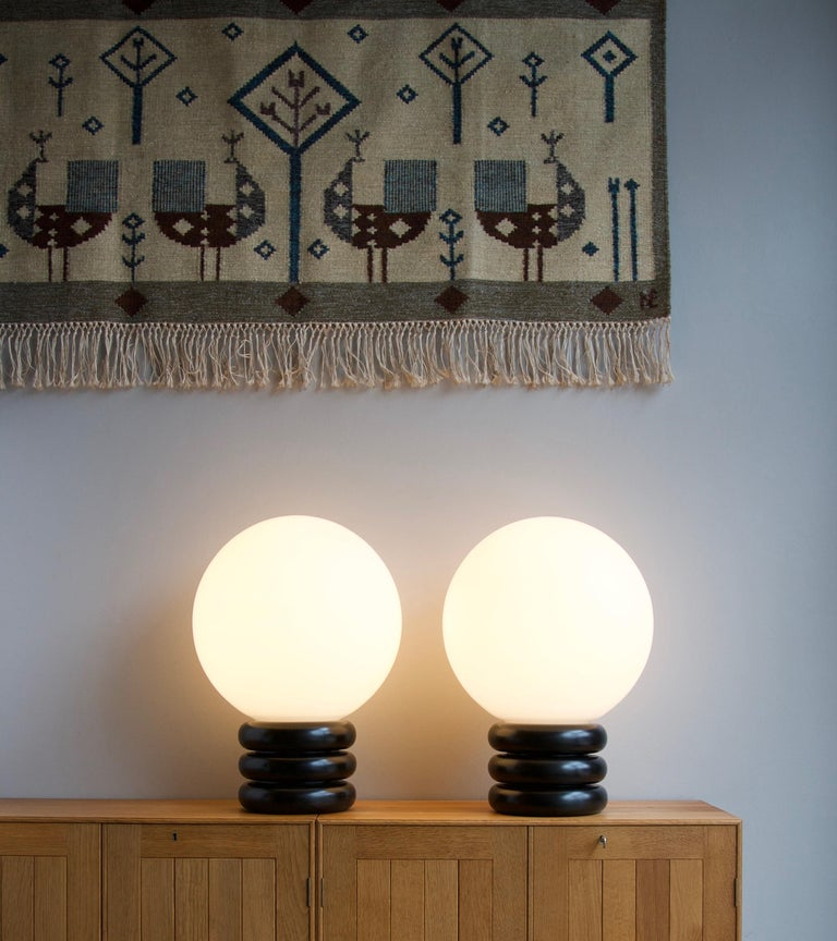 Mid-Century Modern Unique Limited Edition Pair of Antonín Hepnar 1970s Wood and Glass Table Lights For Sale