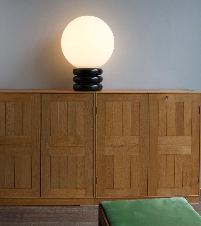 Czech Unique Limited Edition Pair of Antonín Hepnar 1970s Wood and Glass Table Lights For Sale