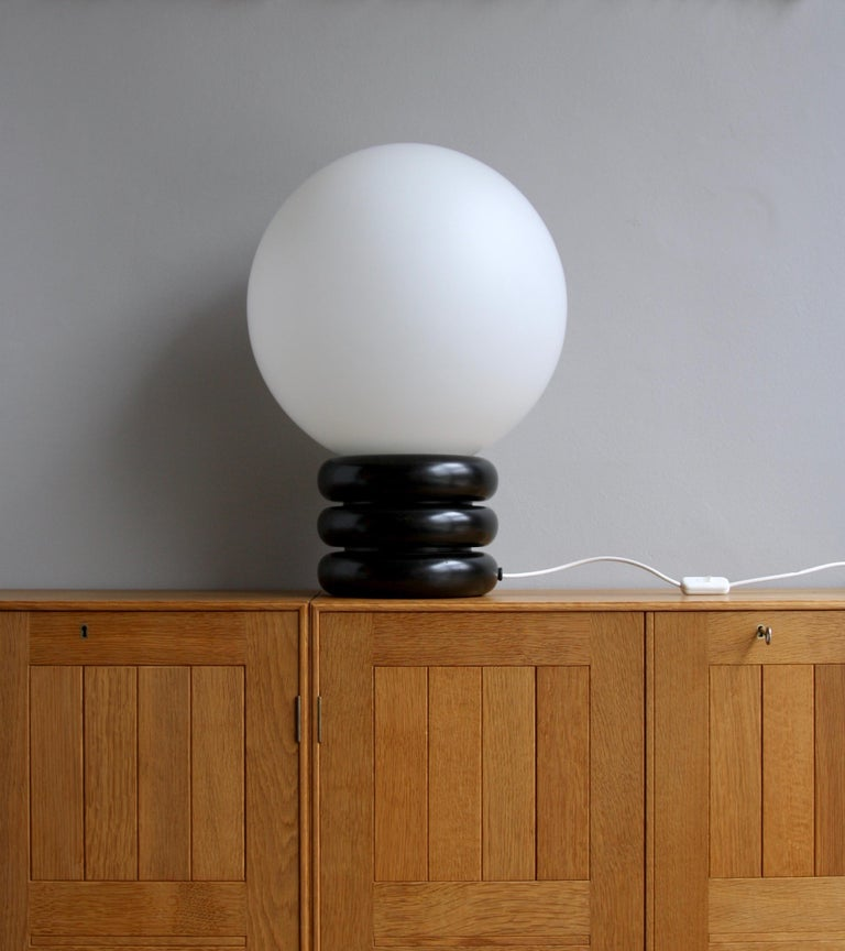 Unique Limited Edition Pair of Antonín Hepnar 1970s Wood and Glass Table Lights For Sale 2