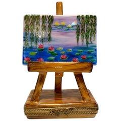 "Unique Limoges ""Claude Monet Nympheas, 1920"" Porcelain Painting on Easel Box"