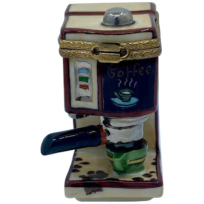 Unique Limoges France Hand Painted Coffee Espresso Maker Porcelain Trinket Box