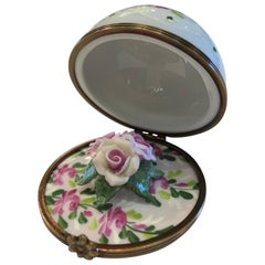 Unique Limoges France Hand Painted Porcelain Rose Flower Bouquet Filled Dome Box