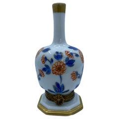 Unique Limoges France Hand Painted Porcelain Vase Trinket Box with Floral Motif