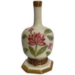 Unique Limoges France Hand Painted Porcelain Vase Trinket Box with Lotus Flowers