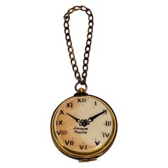 Unique Limoges France Pocket Watch Time for Celebration Trinket Box with Chain